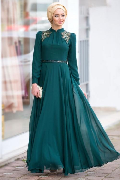 صورة اجمل الفساتين للمحجبات , احدث الصيحات للملابس المحجبات 2019