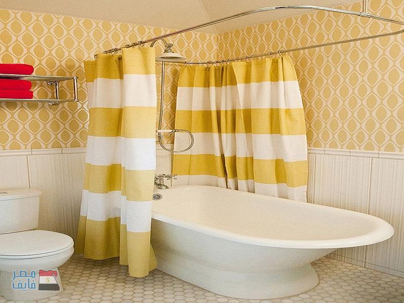 صورة ستائر حمامات , جدد حمامك بستارة بالوان رائعه