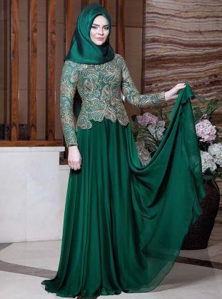 بالصور فساتين دانتيل , صور فستان محجبة بالدانتيل للحفلات 1484 10