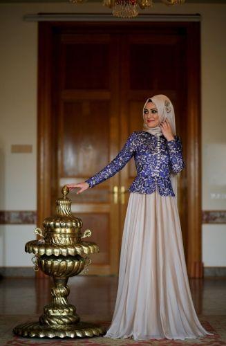 بالصور فساتين دانتيل , صور فستان محجبة بالدانتيل للحفلات 1484 11