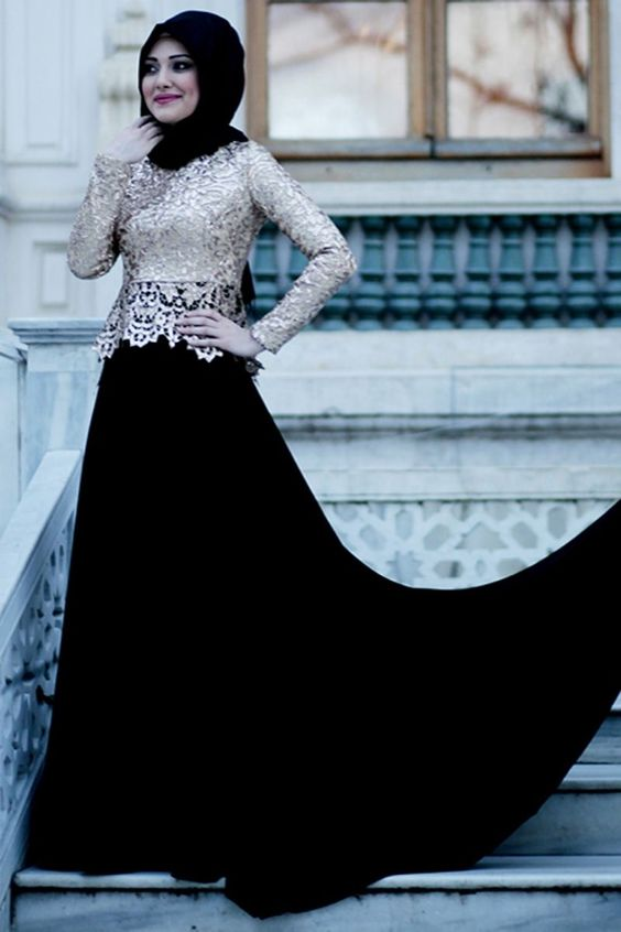 بالصور فساتين دانتيل , صور فستان محجبة بالدانتيل للحفلات 1484 4