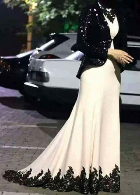 بالصور فساتين دانتيل , صور فستان محجبة بالدانتيل للحفلات 1484 6