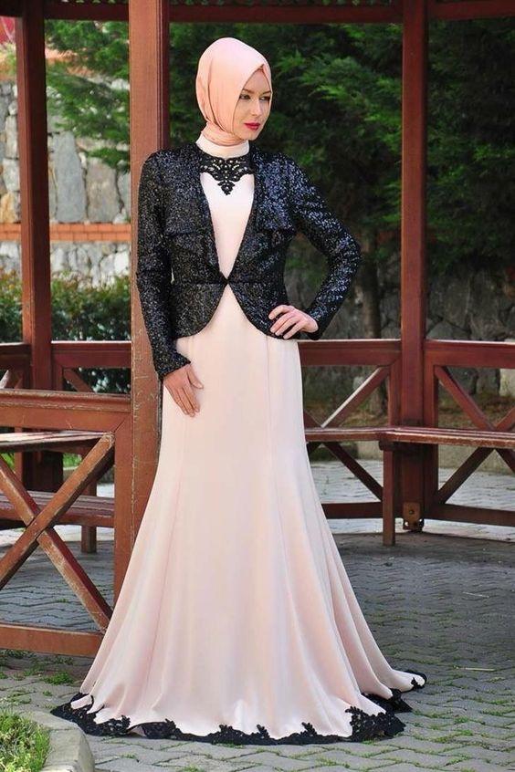 بالصور فساتين دانتيل , صور فستان محجبة بالدانتيل للحفلات 1484 7