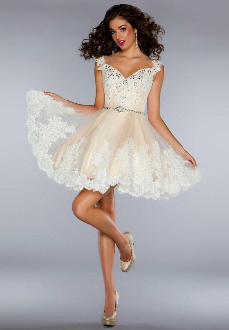بالصور فساتين قصيرة منفوشة , اجدد فستان منفوش للخطوبه والزفاف 6267 3