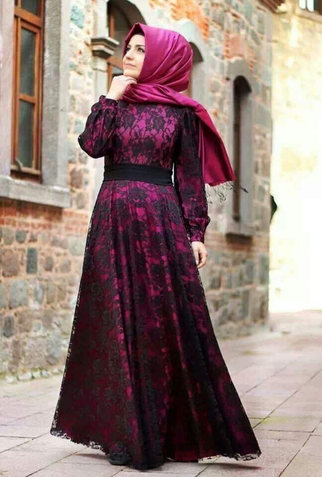 بالصور فساتين تركية للمحجبات , فستان تركى رائع وانيق 6625 11