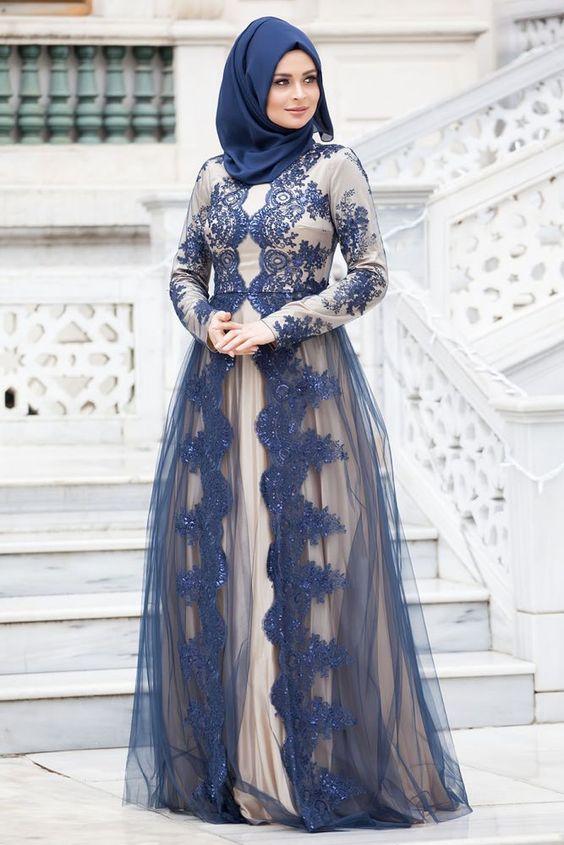 بالصور فساتين تركية للمحجبات , فستان تركى رائع وانيق 6625 2