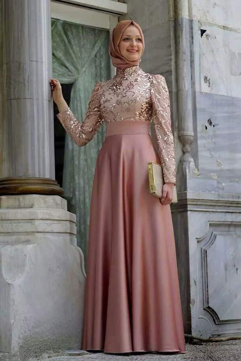 بالصور فساتين تركية للمحجبات , فستان تركى رائع وانيق 6625 5