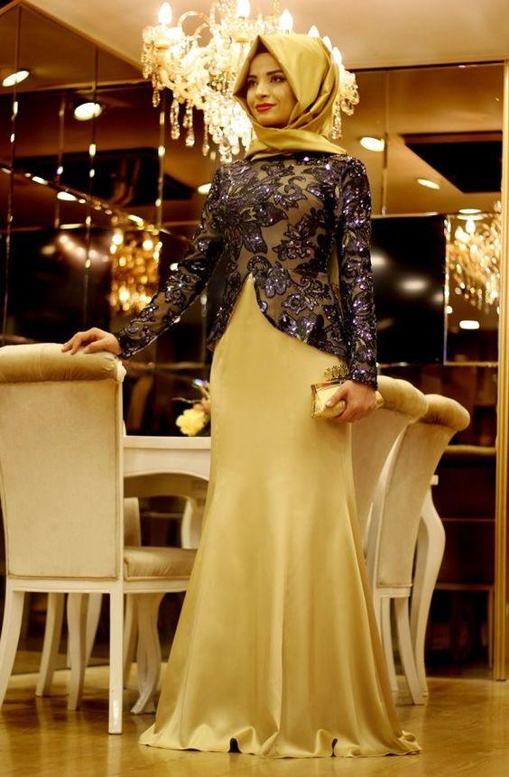 بالصور فساتين تركية للمحجبات , فستان تركى رائع وانيق 6625 7