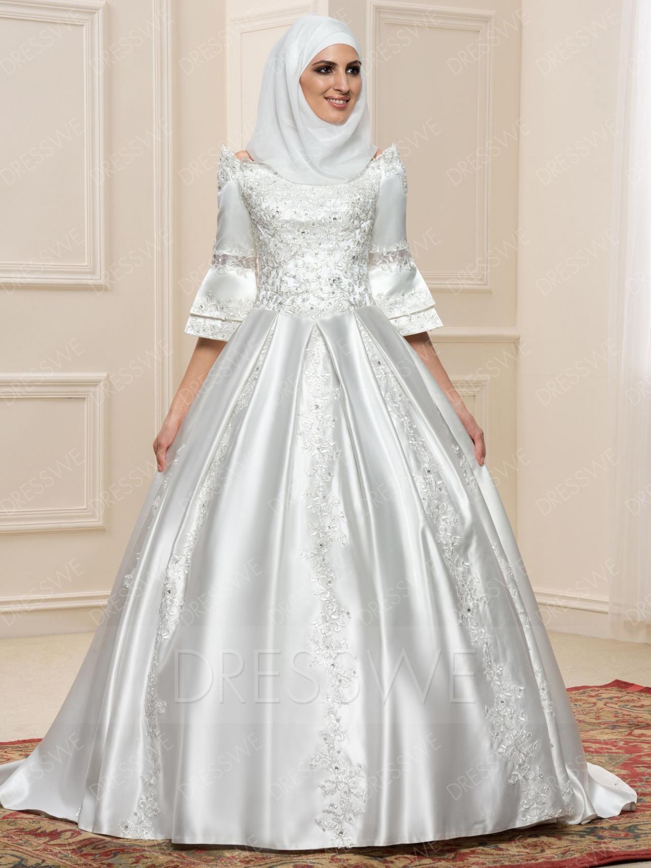 b10a64860 فساتين اعراس للمحجبات , فساتين زفاف انيقة للعروس المحجبة - عيون ...