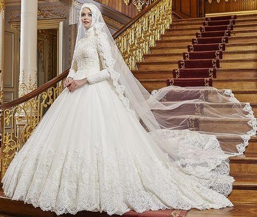 بالصور فساتين زفاف محجبات , ارقي فساتين ليلة العمر للعرائس المحجبات 2075 10