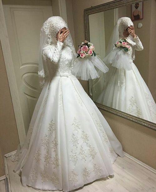 بالصور فساتين زفاف محجبات , ارقي فساتين ليلة العمر للعرائس المحجبات 2075 2