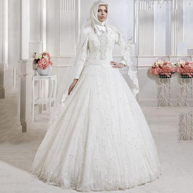 بالصور فساتين زفاف محجبات , ارقي فساتين ليلة العمر للعرائس المحجبات 2075 4