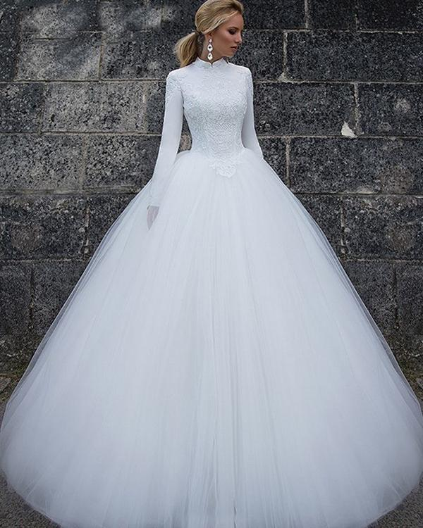 بالصور فساتين زفاف محجبات , ارقي فساتين ليلة العمر للعرائس المحجبات 2075 8