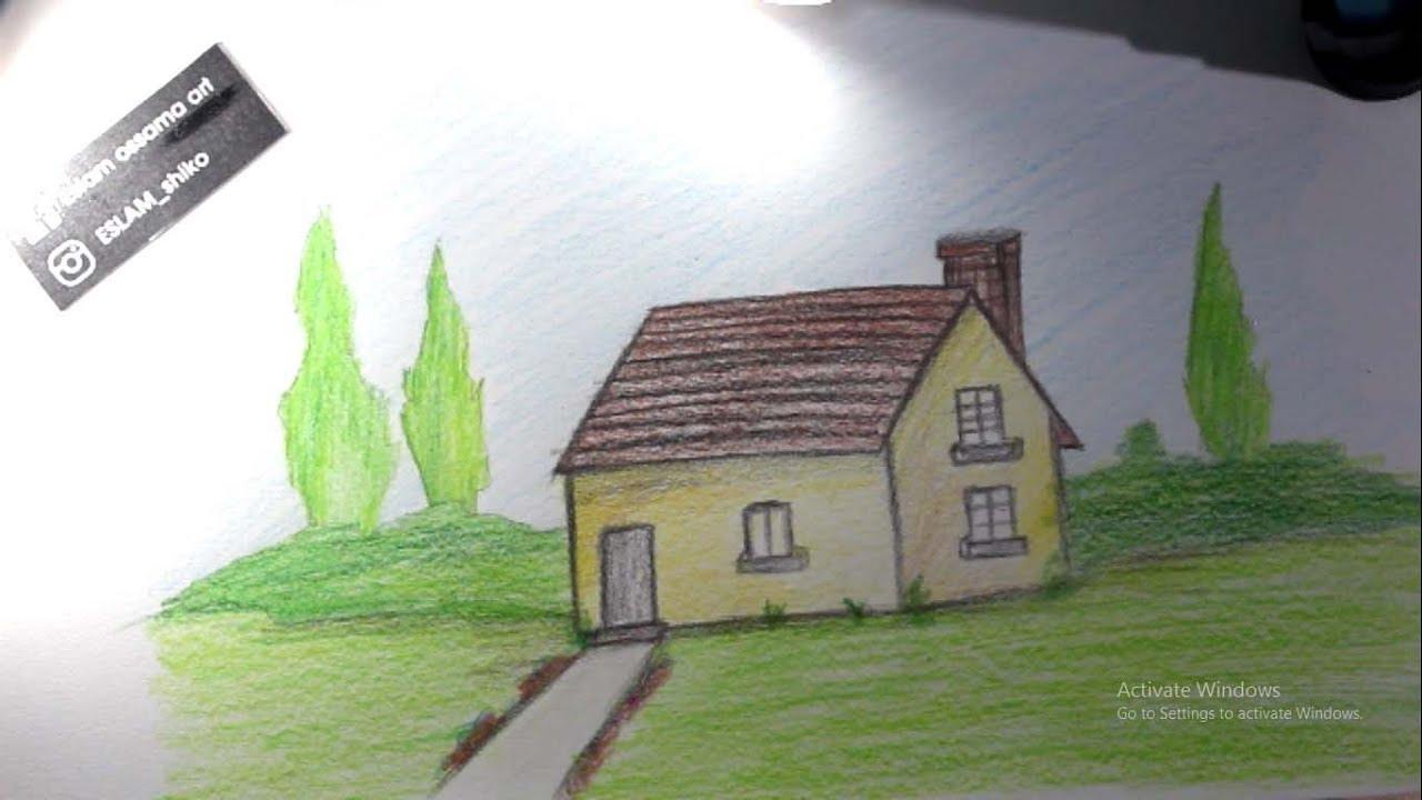 صورة رسم بيت بسيط , صور بسيطة لرسم بيت بسيط بالصور