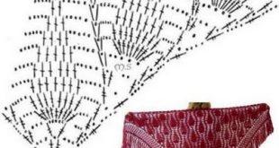 صورة شالات كروشيه مثلثة بالباترون , اجمل شالات كروشيه